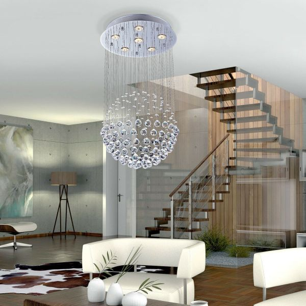 Modern 6-Light Crystal Pendant Chandelier Lamp