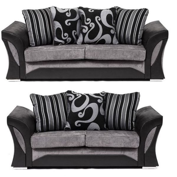 Sparrow Chenille Fabric 3+2 Seat Sofa Set - Black & Grey / Brown & Beige