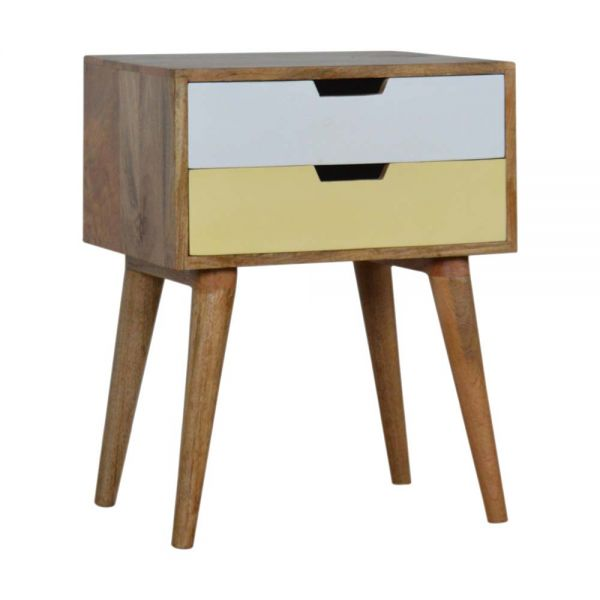 Mustard and White Bedside Table