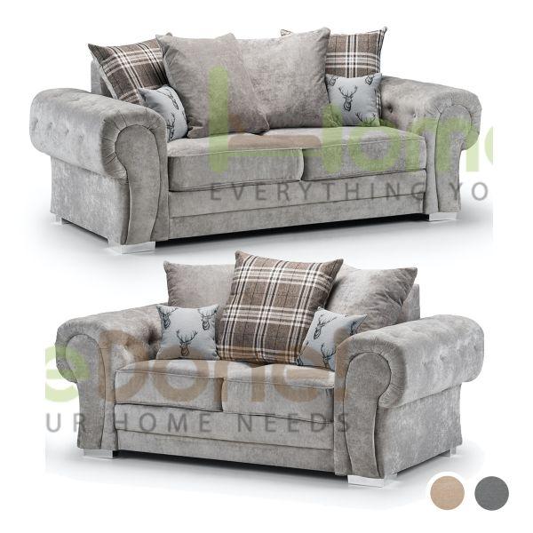 Varinda Fabric 3 and 2 Sofa Set - Grey/Beige