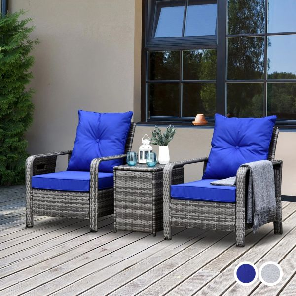 Outsunny 2-Seater Outdoor Garden PE Rattan Twin Armchair with Side Table Set - 2 Colours