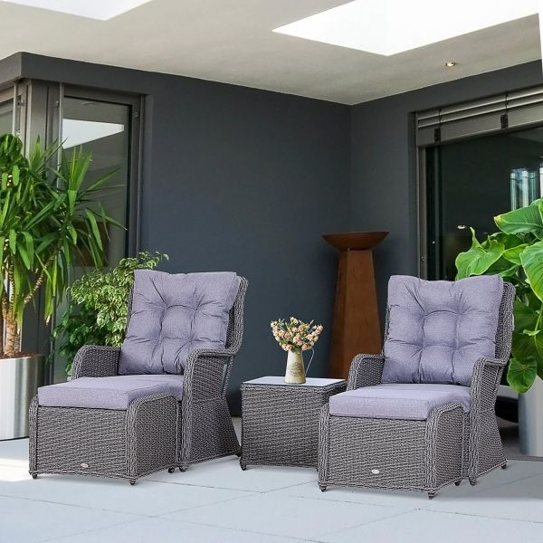 Outsunny Deluxe 2-Seater Rattan Armchair and Table Set - Grey