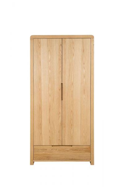 Julian Bowen Curve 2-Door 1-Drawer Wardrobe - Oak