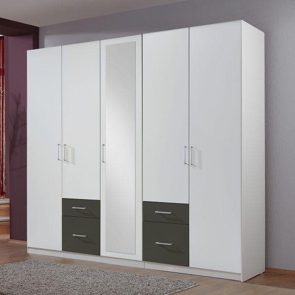 Fresco 5 Door 4 Drawer Mirrored Wardrobe - White and Graphite