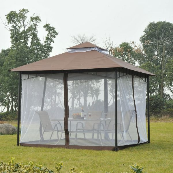 Outsunny 3x3m Gazebo with Netting - Brown