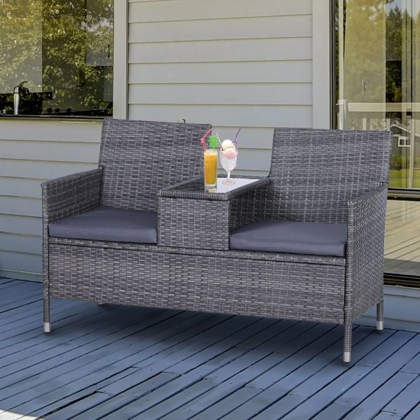 Outsunny 2-Seater PE Rattan Outdoor Garden Bench with Centre Table - 3 Colours