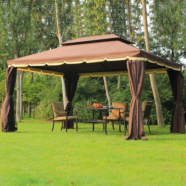 Outsunny Aluminium Metal Double Top Gazebo Marquee with Sidewalls - Coffee Colour
