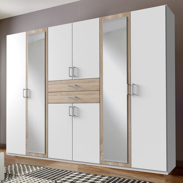 Dakar 6 Door Mirrored Wardrobe - White And Oak