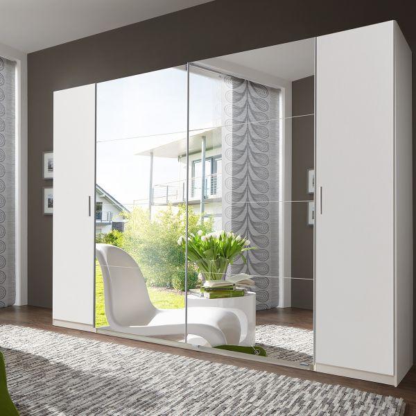 Lodz 4 Door 316cm Mirrored Wardrobe - White