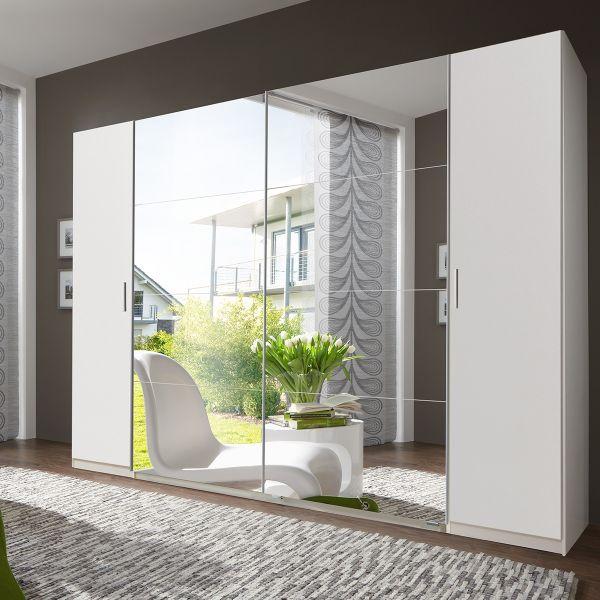 Lodz 4 Door 227cm Mirrored Wardrobe - White