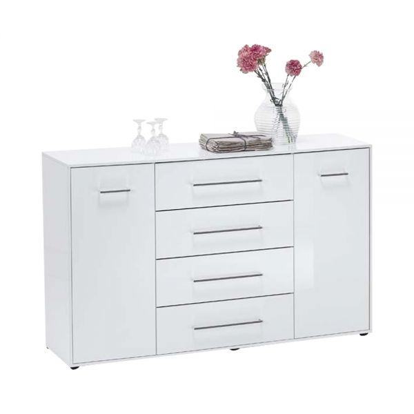 Juli 6 Up 4-Drawer 2-Door Storage Sideboard - White Gloss