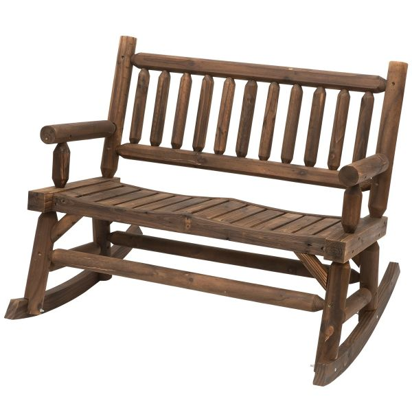 Outsunny 2-Seat Rocking Bench Wood Frame - Brown