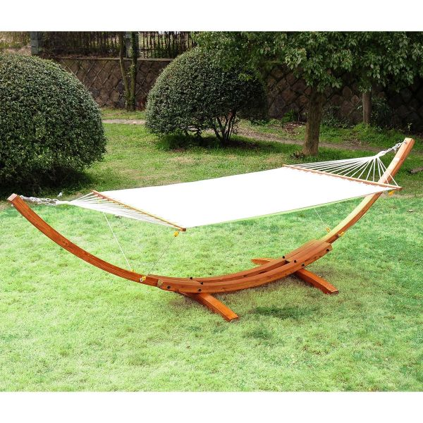 Outsunny Wooden Double Hammock Bed - White