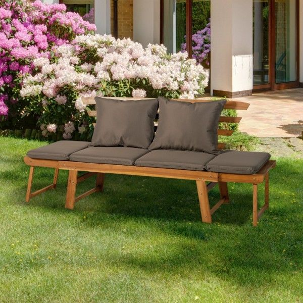 Outsunny Acacia Wood Folding Garden Bench Daybed