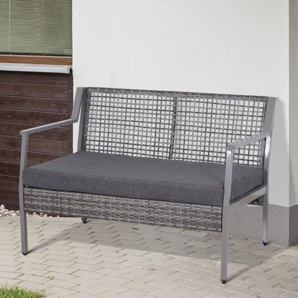 Outsunny 2-Seat Garden Wicker Loveseat Bench - Grey