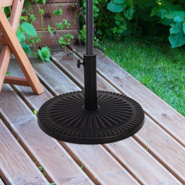 Outsunny Cement Outdoor Garden Round Parasol Base - Black