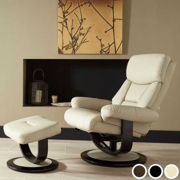 Risor Bonded Leather Recliner Chair & Footstool - Black, Brown or Taupe