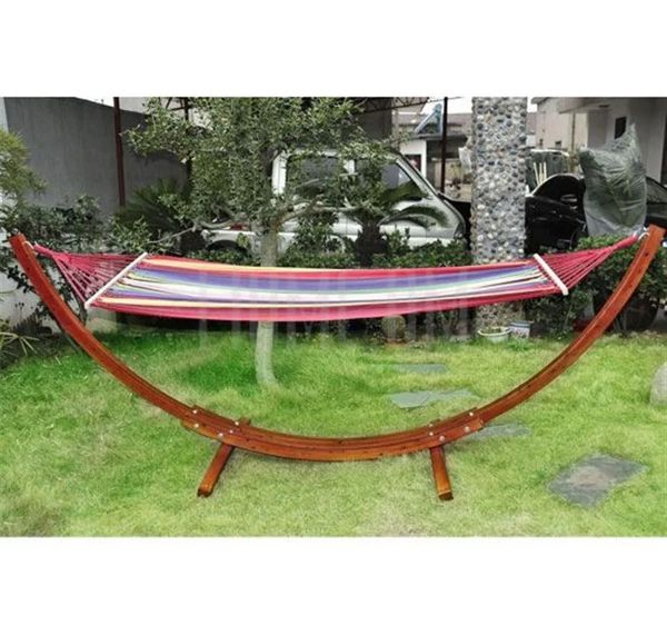 Outsunny Deluxe Single Wooden Hammock with Arc Stand