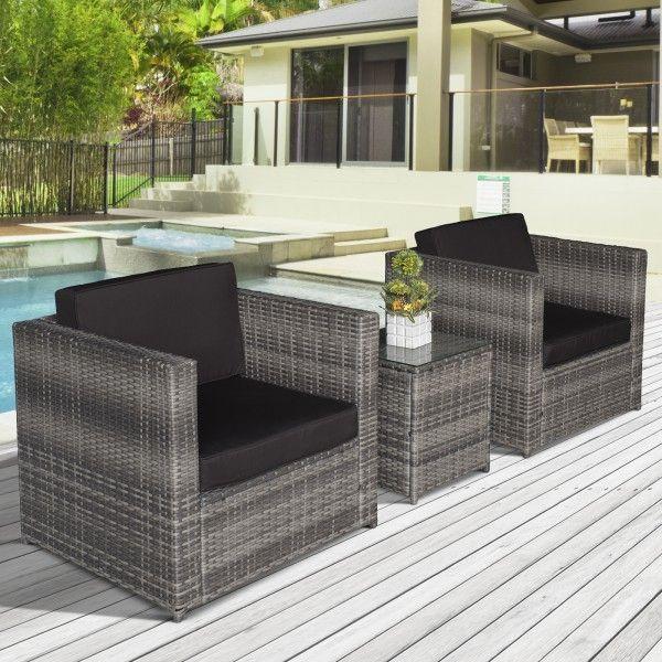 Outsunny 3PC Garden Rattan Furniture Set - Black, Brown or Grey