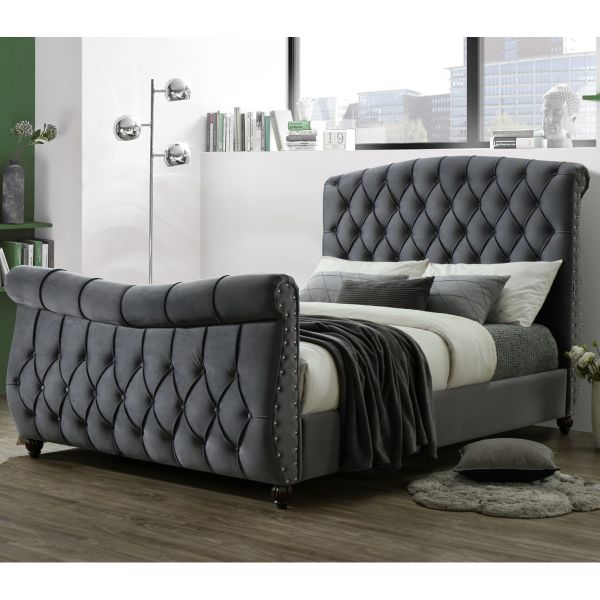 Sareer Lachelle Luxury Dark Grey Velvet Bed - Double or King