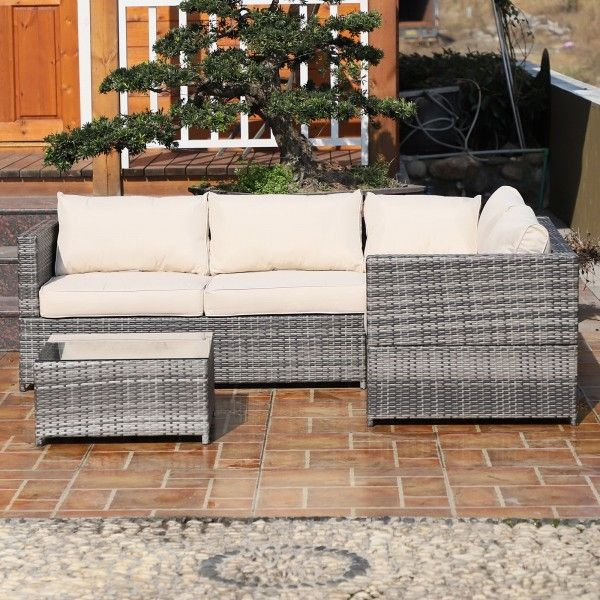 Outsunny 3PC Rattan Garden Corner Sofa Set - Grey