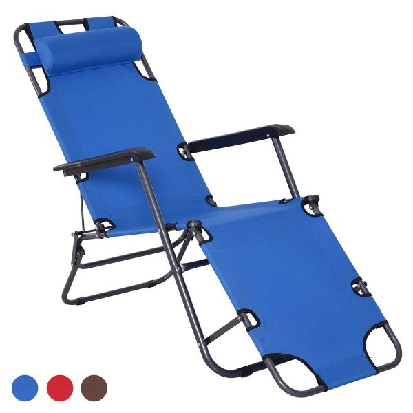 Outsunny Metal Frame 2 In 1 Sun Lounger with Pillow - 3 Colours