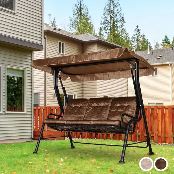 Outsunny Steel Frame 3-Seater Outdoor Garden Swing Chair with Canopy - 2 Colours