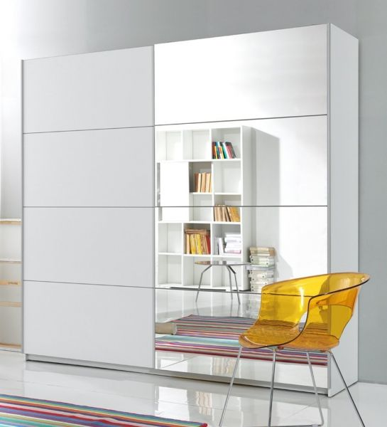 Baldo-IV 2-Door Mirrored Sliding Wardrobe - White