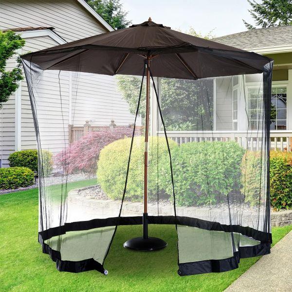 Outsunny Umbrella/Table Mosquito Net - Black