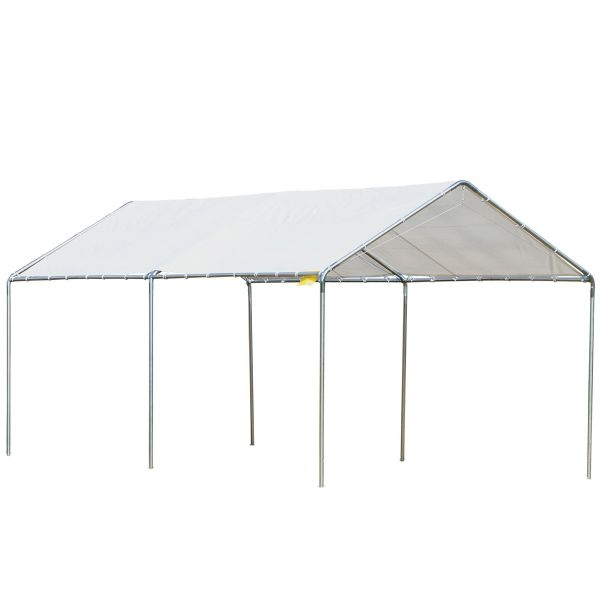 Outsunny 3x6m Heavy Duty Galvanized Steel Frame Canopy Vehicle Shelter - White