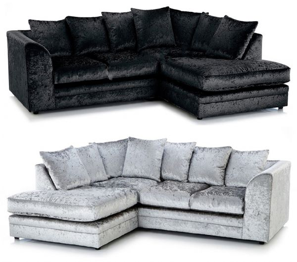 Arabia Crushed Velvet Corner Sofa Suite