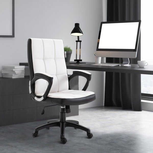 Vinsetto PU Leather Swivel Office Chair - Black or White