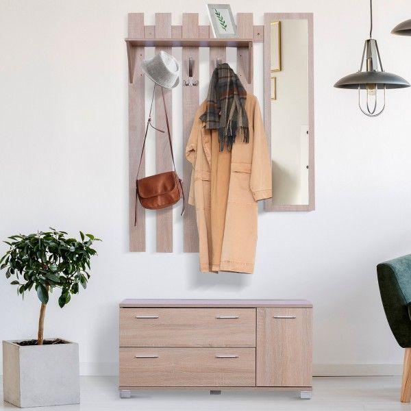 Outsunny 3-in-1 Hallway Shoe & Coat Storage Mirror Set