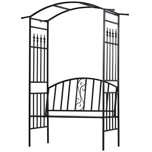 Outsunny Steel Frame Outdoor Garden Arch with 2-Seater Bench - Black