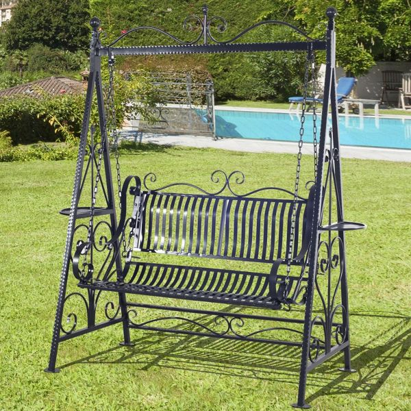 Outsunny Cast Iron Swing Chair Patio Metal Vintage Style Hammock Bench