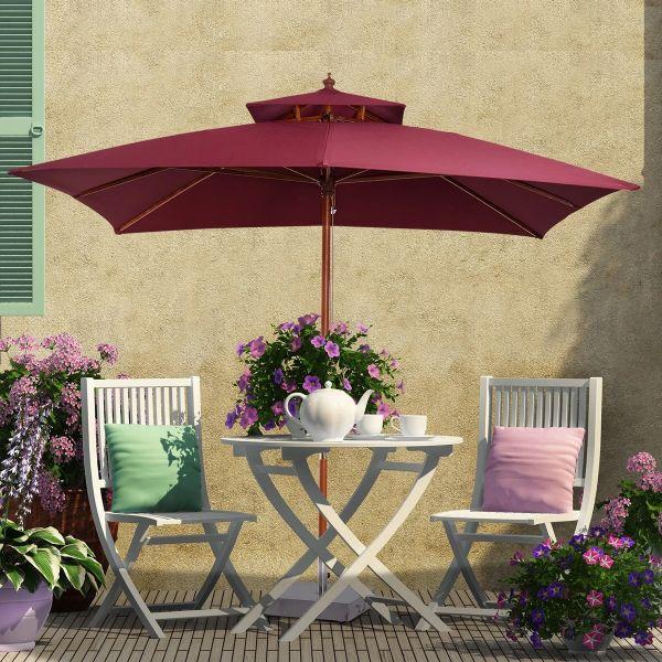 Outsunny 3m 2-Tier Umbrella Parasol - Wine Red