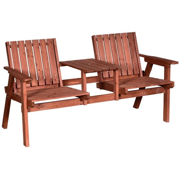 Outsunny 2-Seater Fir Wood Bench with Centre Table