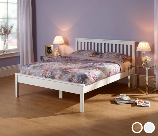 Heather Classic Wood Bed - 5 Sizes - Oak or White