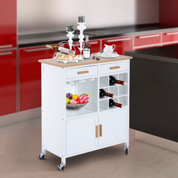 Homcom Rolling Kitchen Storage Trolley Cart - White