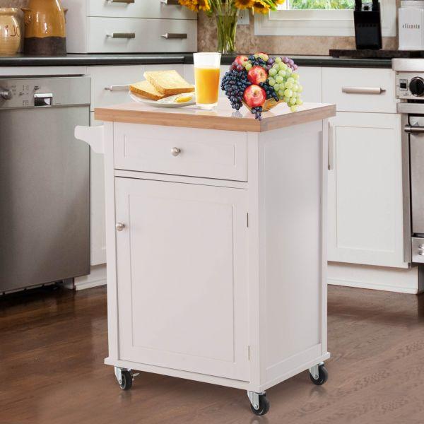 Homcom Kitchen Cart White