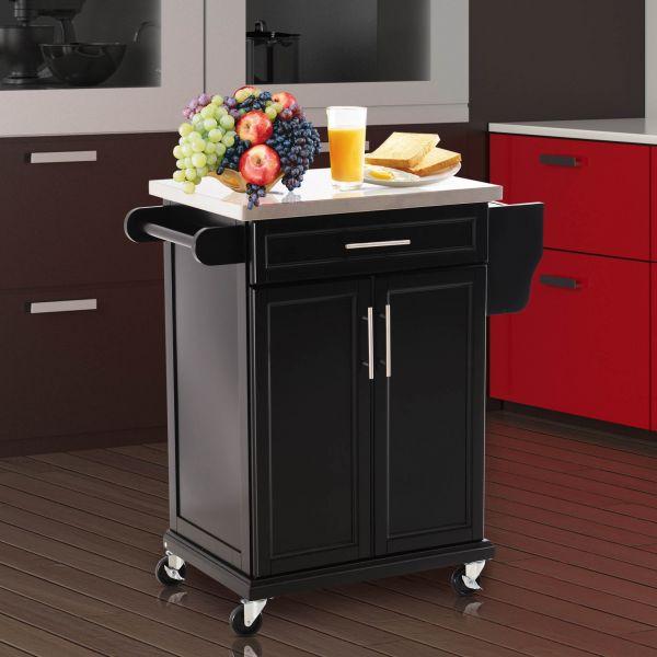 Homcom Wooden Kitchen Cart Black
