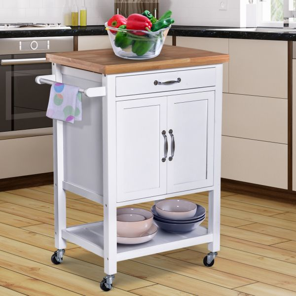 Kitchen Storage Trolley with a Wooden Worktop in White