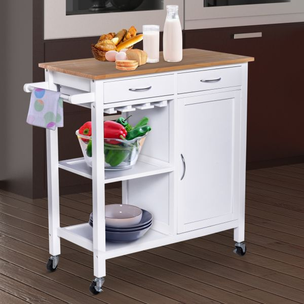 Kitchen Trolley Cart with Cupboards in White