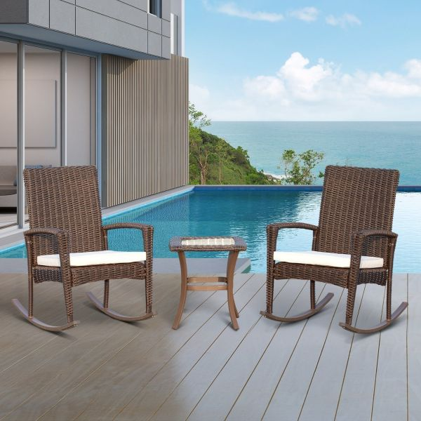 Outsunny 3PC Brown Rattan Rocking Bistro Set