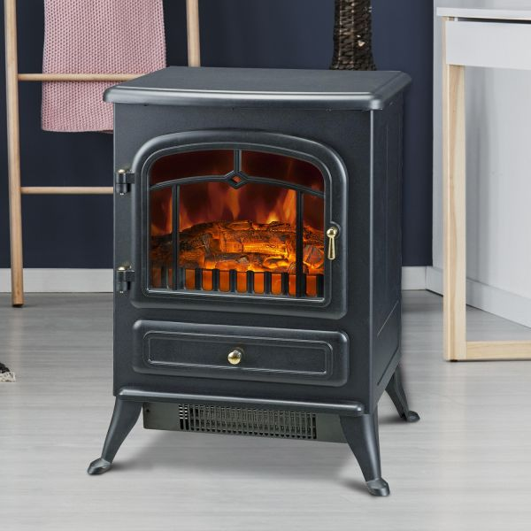 Homcom 1.85KW Electric Freestanding Flame Effect Fireplace