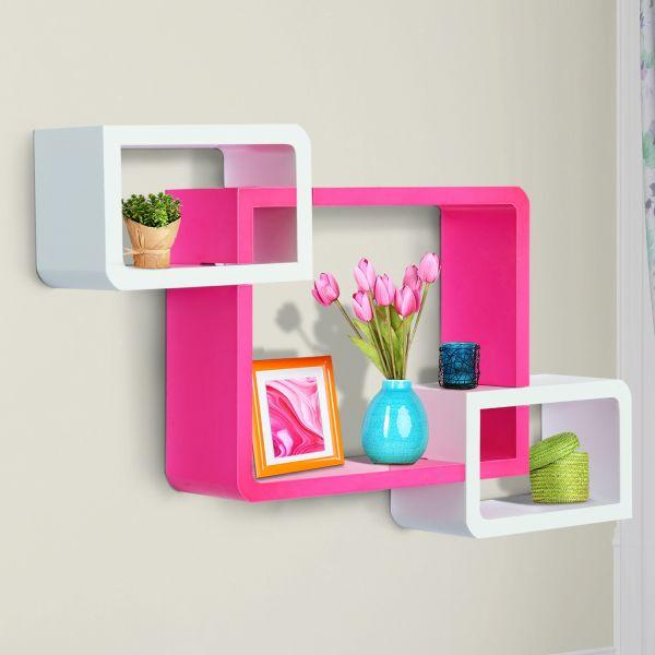 Homcom 3PC Floating Wall Shelves - White & Pink