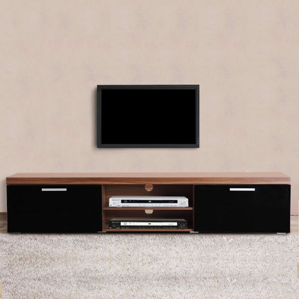 Homcom 2-Door TV Cabinet Stand - Walnut & Black or Black