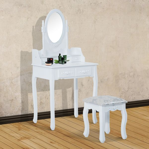 HOMCOM 2pc Dressing Table Set with Mirror and Stool in White