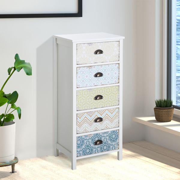 Homcom 5-Drawer Decorative Storage Chest - White