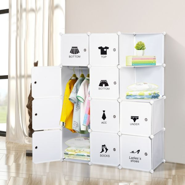 Homcom 10 Interlocking Cubic Storage Wardrobe - White